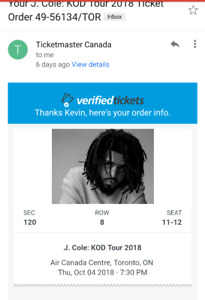 J Cole Tickets: October 4th ACC  Row 8 $500 for the Pair