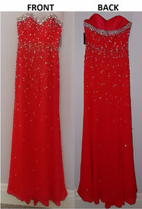**BRAND NEW* Elaborate Floor Length Beaded Bodice Red Gown Dress Kitchener / Waterloo Kitchener Area image 2