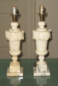 Two marble/alabaster lamps