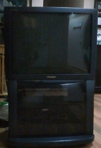 "Panasonic 27"" with cabinet stand"