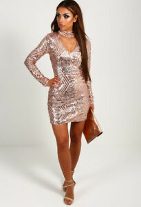 Sequin Bodycon Longsleeve dress with Choker