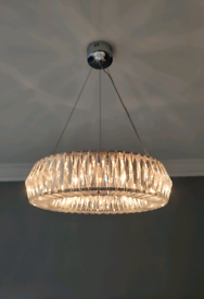 Modern Crystal chrome chandelier light - Laura Ashley