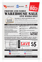 Bargains Group Friends and Family Warehouse Sale