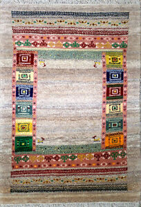 Original Persian Handmade Gabbeh Rug, 100% Wool, Made in Persia