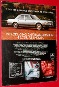 1977 CHRYSLER LEBARON SEDAN VINTAGE CAR AD - PUBLICITE AUTO
