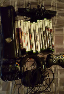 xbox 360, 2 controllers, headset, and games