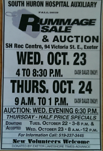 South Huron Hospital Auxiliary FALL RUMMAGE SALE and AUCTION