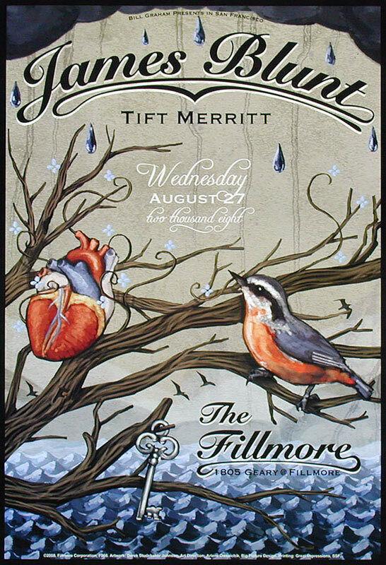 James Blunt + Tift Merritt 2008 Fillmore SF F966 Poster Derek Studebaker Johnson
