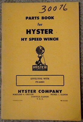 Vint Hyster D6 D7 D8 Dw10 Caterpillar Tractor Hy Speed Winch Parts Book Model Pn