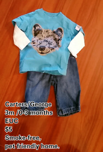 Boys clothing ranging in sizes 0-3 months. Price on pictures.