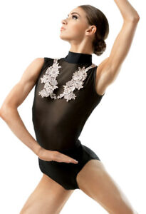 WEISSMAN APPLIQUE ACCENT MESH LEOTARD
