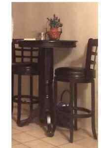 2 leatherette bar stools and bar table