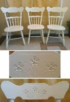 3 Lovely Refinished Flowery Carved Back Ivory White Oak Chairs