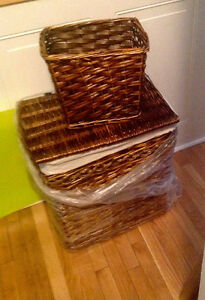 Brand new wicker hamper and matching pail
