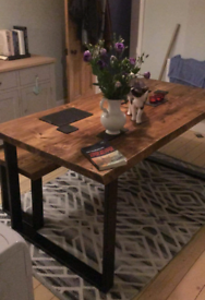 Bespoke handmade rustic dining tables and benches