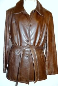 LIKE NEW / $500 Acton Hide House / Womens Large L 12 14 / TOP QUALITY LEATHER SPRING JACKET CAR COAT / BROWN / Canada