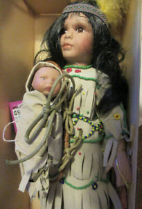 "12"" Porcelain & Cloth Doll Native Mom & Papoose Limited Edition"
