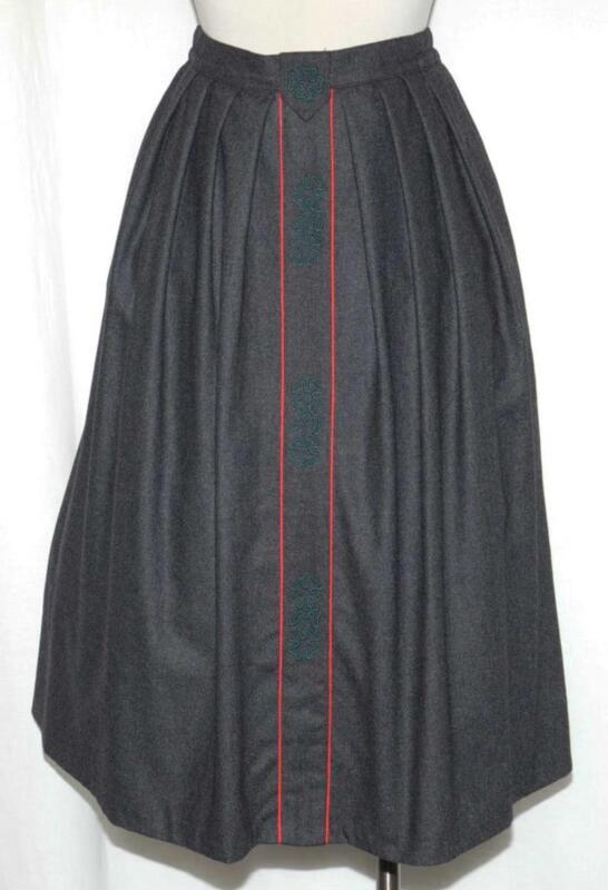 BLACK ~ WOOL German EMBROIDERED Women PLEATED Full LINED Long Suit SKIRT 40 10 M