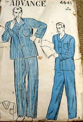 1940s Men's Shirts, Sweaters, Vests *VTG 1940s MENS PAJAMAS Sewing Pattern SMALL 34-36 $6.99 AT vintagedancer.com