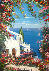 "Oil Painting on Canvas NEW Large 22""X32"" Mediterranean Scenery!!"