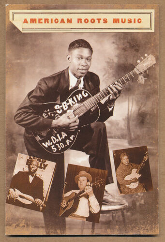 American Roots Music (B.B. King, Woody Guthrie) RARE promo postcard