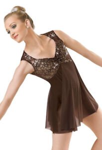 Brown Sequin and Mesh lyrical dance costume