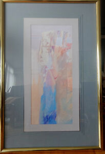 "Beautiful HUGE 42X28"" ORIGINAL ABSTRACT ART PAINTING BLUE WHITE PEACH Framed, under glass  Professional framing Oakville"