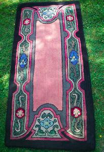 Vintage Nova Scotia traditional hooked rug - hall runner