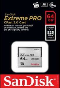 SanDisk 64GB Extreme PRO CFast 2.0 Memory Card Brand New Sealed
