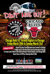 Chicago Bulls vs Toronto Raptors TRAVEL PACKAGE TO CHICAGO