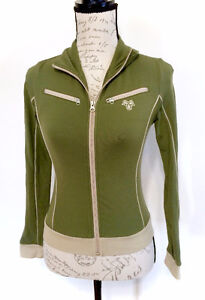 TNA Aritzia Olive Green Track Zip Up Sweater - Extra Small