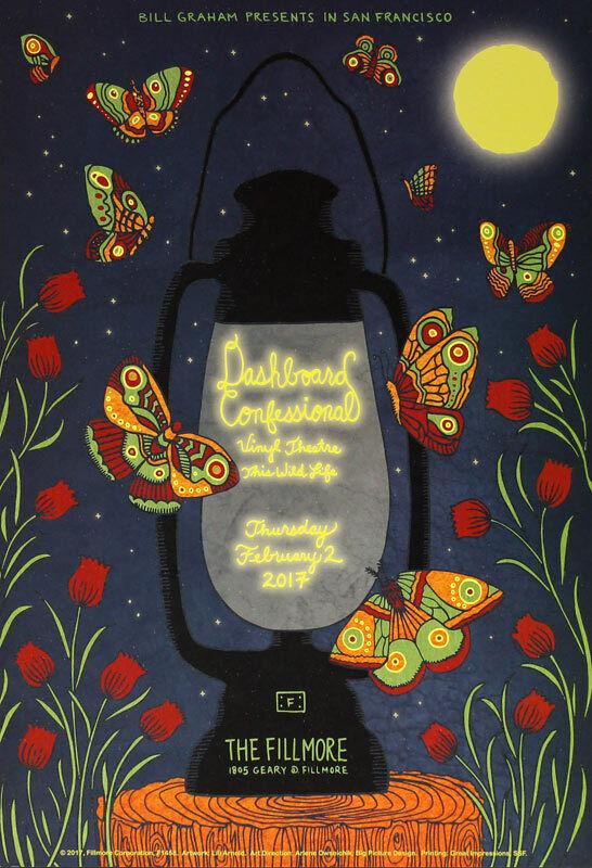Dashboard Confessional Fillmore San Francisco 2/2/2017 Poster Lili Arnold F1458