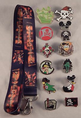 Pirates of the Caribbean Lanyard Set w/ 5 Themed Disney Trading Pins ~ Brand NEW