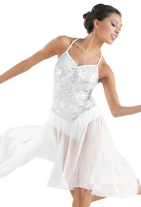 Stunning White Sequin Skating or Dance Dress CM and CL