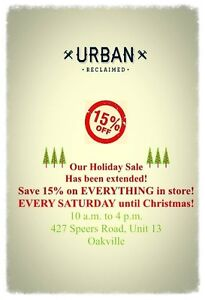 15% everything until Christmas at Urban Reclaimed