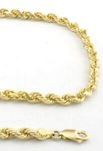 10K Gold Genuine Real 3mm Diamond Cut Rope Chain