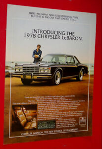 1978 CHRYSLER LEBARON COUPE VINTAGE CAR AD - ANONCE AUTO