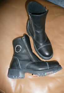 Harley Davidson Black Leather Ankle Double Zipper Boots Kitchener / Waterloo Kitchener Area image 1