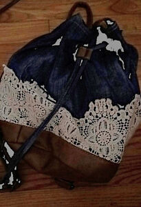 Jean and lace bag