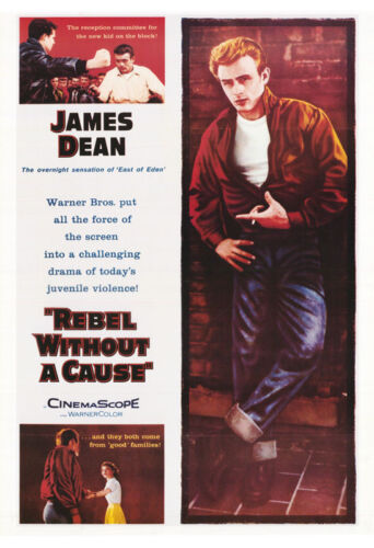 LOT OF 2 POSTERS: MOVIE REPRO : JAMES DEAN - REBEL WITHOUT A CAUSE  #6191  RW23i