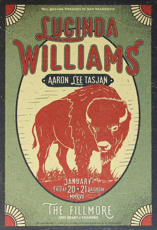 Lucinda Williams Aaron Lee Tasjan Fillmore SF 1/20/2017 Poster Lil