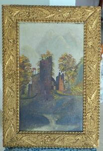 ANTIQUE OIL PAINTING OF CASTLE ORNATE PATTERN GILDED FRAME c1885