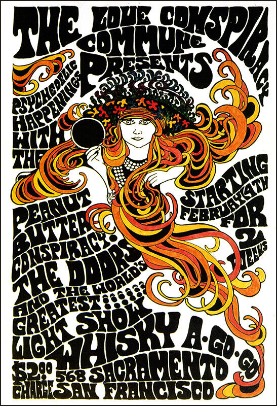 THE DOORS Whiskey A-Go-Go 1967 Concert Poster Peanut Butter Conspiracy - $12.99
