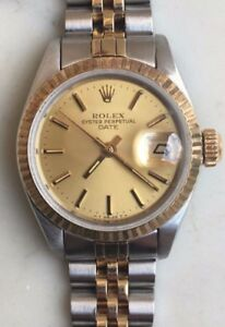 Vintage Rolex Oyster Perpetual Date Ladies Two Tone 18K