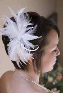 Feather hair piece with crystal beads