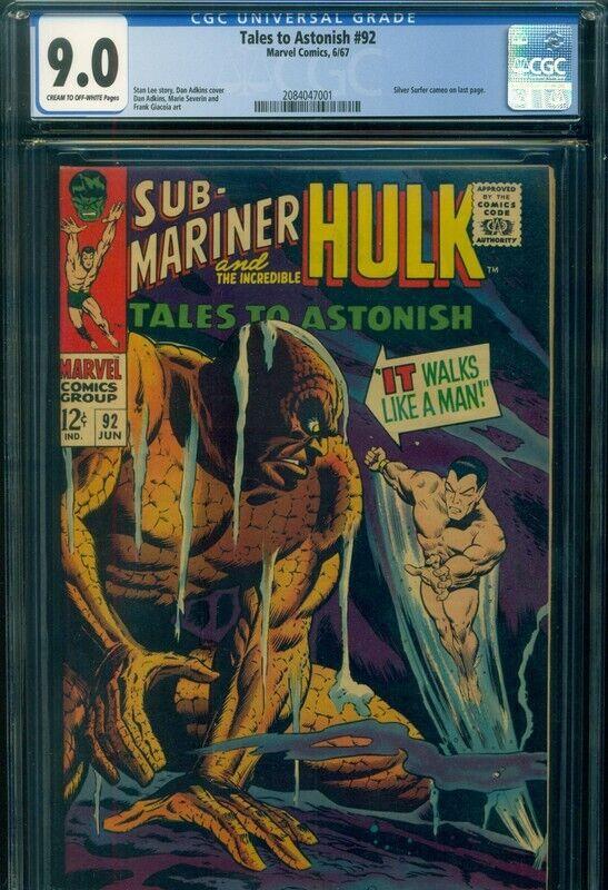 TALES TO ASTONISH #92 CGC 9.0 VF/NM Marvel Comic Sub-Mariner HULK Silver Surfer