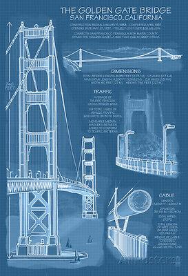 San Francisco, Ca, Golden Gate Bridge Technical Blueprint Poster - 13x19