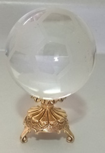 Crystal Soccer Ball on a Brass Stand