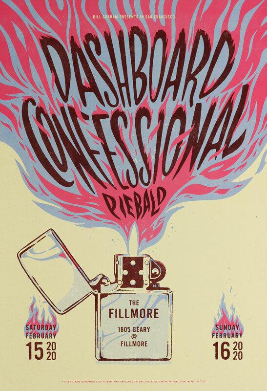Dashboard Confessional Piebald Fillmore SF 2020 Poster F1687 Matthew Fleming