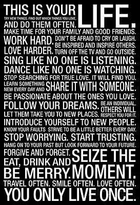 This Is Your Life Motivational Quote Poster Print, 24x36